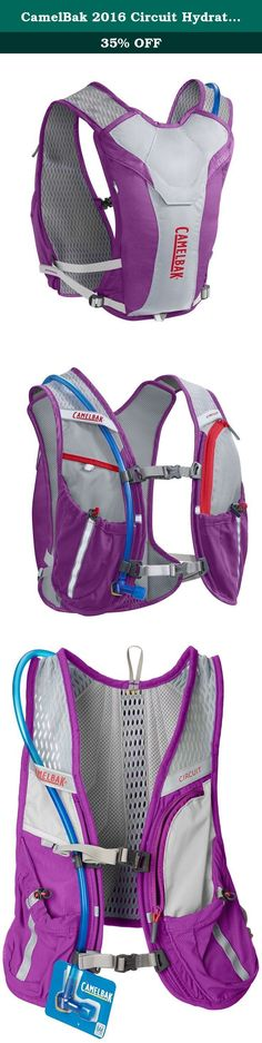 CamelBak 2016 Circuit Hydration Vest, Purple Cactus Flower/Flame Scarlet. The lightest CamelBak running vest still carries enough supplies to bonk-proof your long run. The Circuit holds 1.5 liters of water, with two pockets for storing extra water bottles in the front. All of your essentials are close at hand: a sweat-proof pocket holds your phone, card and keys, and a smaller compartment stretches to store gels or snacks. The dual sternum straps provide a snug, adjustable fit, and the...