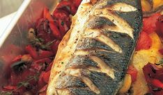 A deliciously fresh and flavoursome recipe from Rick Stein. The baked sea bass is served with vibrant roasted red peppers, tomatoes, potatoes and anchovies. Potato Sides, Potato Side Dishes, Creamy Fish Pie, Baked Sea Bass, Chocolate Dishes, Everyday Dishes, Roasted Red Peppers, Seafood Dishes, Roasted Vegetables