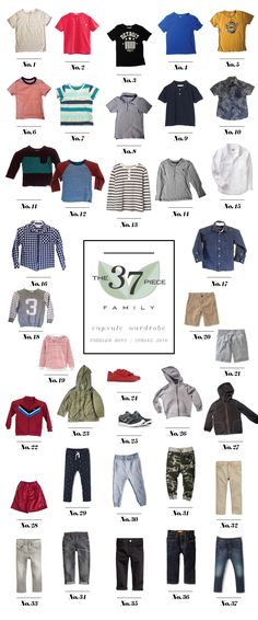 A Toddler Boys 37 piece Spring Capsule Wardrobe.
