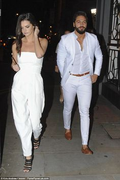 Mario Falcone and Emma McVey match in white as they hit Manchester - - The TOWIE star and his stunning girlfriend matched in all white outfits as they enjoyed dinner at Sakana in Manchester on Sunday. All White Mens Outfit, White Summer Outfits, Formal Men Outfit, White Outfit Party, Wedding Dresses Men Indian, Wedding Dress Men, Party Wedding, Mens Casual Suits, Mens Fashion Suits