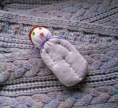Lavender Filled Sachet Handmade Sock Doll White w\Brown Hat Green Eyes #Pedricks