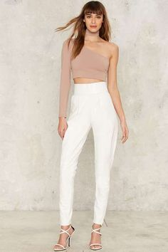 https://goo.gl/1vF84d #ootd #ValentinesDay #ootdmagazine Asilio On the Run High-Waisted Pants - White