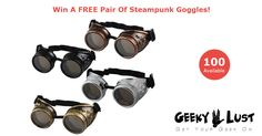 100 Steampunk Goggles Being Given Away!  Click to enter giveaway and grab a pair for yourself... #Steampunk