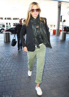 AQUARIUS: Jennifer Aniston. Black Blazer, black tee, olive cargo skinnies