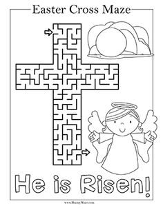 Easter Mazes for Kids - Brainy Maze activities for toddlers religious Mazes For Kids, Bible Crafts For Kids, Easter Crafts For Kids, Children Crafts, Bunny Crafts, Sunday School Projects, Easter Religious, Easter Colouring, Easter Cross