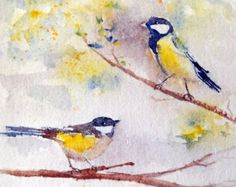 Original watercolor of 2 chickadees on a by MartineSaintEllier