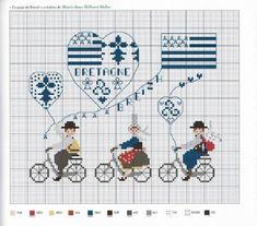 0 point de croix grille et couleurs de fils bretagne, bretons en vélo