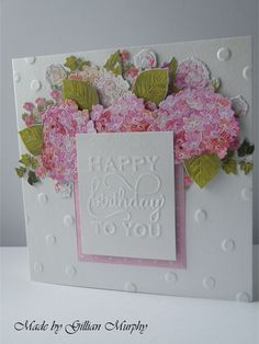 Tattered Lace Charisma Hydrangea CD and dies, Anna Griffin mix and match interchangeable sentiment.