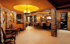 L-shaped Basement Bars | ... Basement design by Denver General Contractor Basements & Beyond