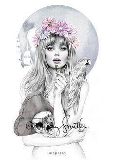 birdy and me, art, illustration, drawing, painting, girl, skull,