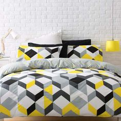 Yellow Black Grey Geometric Queen Duvet Quilt Cover Set for sale on Trade Me, New Zealand's auction and classifieds website Quilt Bedding, Bedding Sets, Home Bedroom, Bedroom Decor, Bedrooms, Single Quilt, Bed Linen Design, Bed Sets, Quilt Cover Sets