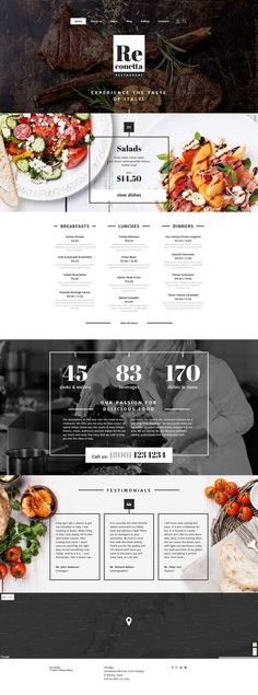20 web design inspiration for the modern website template featuring beautiful full-width photos, dynamic click-through lists, and a subtle bohemian vibe. Everything about this design can be changed in this website design inspiration free website design Layout Design, Design De Configuration, Layout Web, Site Web Design, Food Web Design, Web Design Tips, Website Layout, Design Blog, App Design