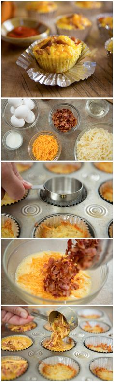 Bacon Breakfast Cupcakes with shredded potatoes, bacon, eggs, cheese, and Sriracha drizzle!