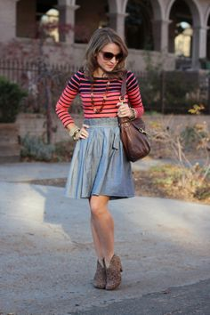high waisted skirt + striped shirt (minus the shoes)