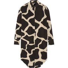 DKNY Printed stretch-silk shirt dress (635 CAD) ❤ liked on Polyvore featuring dresses, black, long black shirt dress, kohl dresses, abstract print dress, dkny dresses and giraffe dress