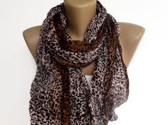 leopard wrinkled scarf , women accessories , gifts for her , brown beige. $10.50, via Etsy.