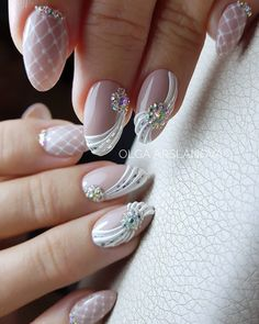 Elegant Nails, Stylish Nails, Flower Nail Designs, Nail Art Designs, Wedding Nails Design, Lace Wedding Nails, Manicure Nail Designs, Lavender Nails, Bridal Nail Art