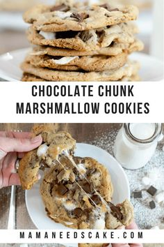 Chocolate Chunk Marshmallow Cookies (Chocolate Chip) - Mama Needs Cake  #cookies #chocolate #dessert #mamaneedscake #tasty #delicious #baking
