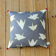 Cranes Pom Pom Square Cushion - cushions