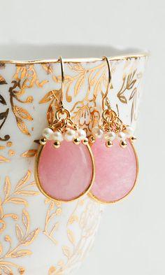 Pink Crystal EARRINGS Pearl Earrings Gold
