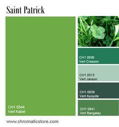 Le vert est de mise à la Saint Patrick et apporte fraîcheur et équilibre dans nos décorations intérieures, en camaïeu ou associé à des tons neutres par exemple. www.chromaticstore.com