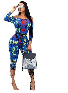 Colorful Letter Printed Bodycon Jumpsuit