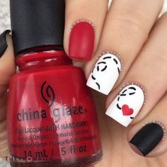 and....I'm in love, with this nails #nails #love #art #cute