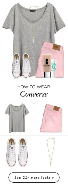"""""""read d pls!!!!"""" by smileyavenuegirl on Polyvore featuring H&M, Abercrombie & Fitch, Converse, Clinique, Maybelline and Kendra Scott"""
