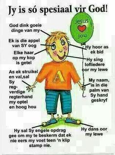 Jy is spesiaal vir God! Hug Quotes, Bible Quotes, Bible Verses, Prayer For My Children, Bible For Kids, Afrikaans Language, Senses Activities, Afrikaanse Quotes, 1st Grade Worksheets