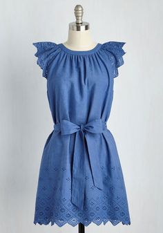 Xenial Spirit Dress - Blue, Solid, Eyelet, Casual, A-line, Short Sleeves, Spring, Woven, Good, Cotton, Mid-length, Americana