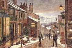 Christmas scene at Haworth, Yorkshire. One of the prettiest villages I've ever seen!