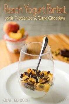 Peach Parfait with pistachios and dark chocolate made with Chobani Greek Yogurt.