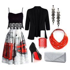 Oh London Pleated Skirt w/ Red & Black Accents