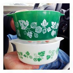 Green and White, I have never seen green pyrex.