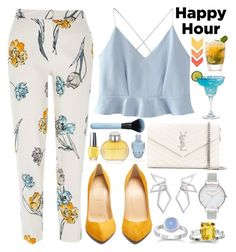 """Happy hour!"" by nvoyce ❤ liked on Polyvore featuring River Island, WithChic, Christian Louboutin, Yves Saint Laurent, W. Britt, Olivia Burton, Burberry, OPI and happyhour"
