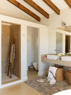 Hard to believe this is not a restored ancient farmhouse. It was built in Its owner fell in love with the island of Mallorca and decid. Beach Bathrooms, Rustic Bathrooms, Ideas Baños, Mexico House, Natural Bathroom, Modern Sink, Weekend House, Home Office Decor, Home Decor