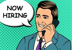 Illustration of Now Hiring Pop Art Background fit for use as employe searching banner