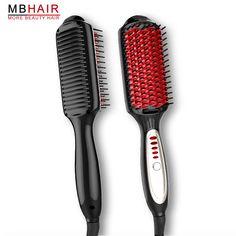 LED Anion Multi-function Flat iron keratin Curling iron fast Brush Straightener Iron comb Hair straightener  escova alisadora