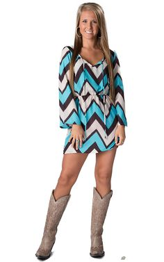 Rock & Roll Cowgirl® Women's Turquoise, Brown & White Chevron Print Long Bell Sleeve Dress
