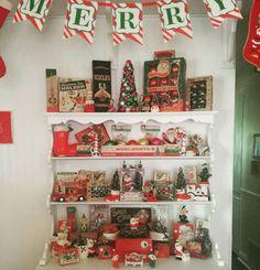 hutch filled wvintage christmas - Farmhouse Christmas Decor Pinterest