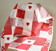Baby Girl Patchwork Quilt, Red Nursery Bedding, Baby Girl Crib Quilt, Cot…