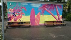 Österreich-Baden-Inmbissstube gegenüber vpm Strandbad Murals, Travelling, Street Art, Painting, Public Bathing, Bathing, Wall Paintings, Painting Art, Mural Painting