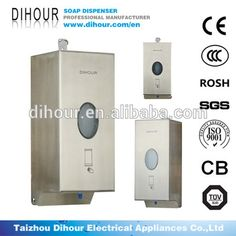 Dihour wall mounted touchless soap dispenser for wall mount and counter mount. Wall Mounted Soap Dispenser, Automatic Soap Dispenser, Soap Dispensers, Electrical Appliances, Dry Hands, Counter, Locker Storage, Stainless Steel, Decor