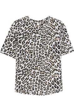 Equipment Logan Leopard-Print Washed-Silk Top
