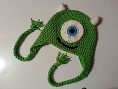 Ravelry: Mike Wazowski One Eyed Monster Ear Flap Hat - 5 Sizes Newborn to Child - Monsters Inc. pattern by Sissy Johnson  $4.49