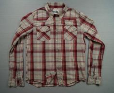 Hollister Men s Vintage Shirt Top Size L Red Cream Yellow Check Long Sleeve
