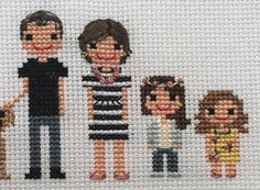 Custom 5 Figure Cross Stitch Portrait
