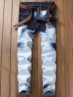 GRMO Men Stylish Moto Biker Straight Leg Stretchy Gradient Color Denim Pants