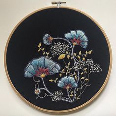 Crewel Embroidery Patterns Ginko leaves in these blue tones is dreamy Crewel Embroidery Kits, Embroidery Needles, Cross Stitch Embroidery, Machine Embroidery, Embroidery Designs, Floral Embroidery Patterns, Embroidery Supplies, Floral Patterns, Satin Stitch