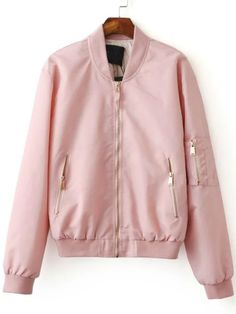 ¡Cómpralo ya!. Pink Zipper Up Bomber Jacket. Pink Polyester Casual Stand Collar Short Zipper Fall Plain Jackets. , chaquetabomber, bómber, bombers, bomberjacke, chamarrabomber, vestebomber, giubbottobombber, bomber. Chaqueta bomber de mujer color rosa de SheIn.